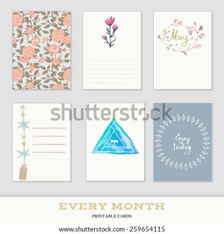 Set of 6 creative journaling cards. Hand Drawn textures made with ink. Every Month Collection - May - stock vector