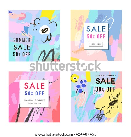 Set of Creative Social Media Sale headers or banners with discount offer. Design for summer or spring clearance. It can be used in advertising, web design, graphic design. Vector illustration. - stock vector