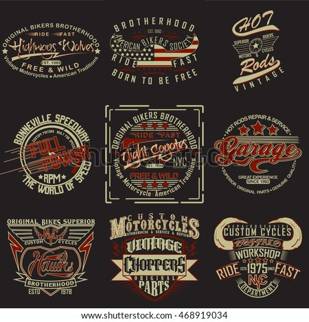 Set creative tshirt graphic designs vintage stock vector for Stock t shirt designs