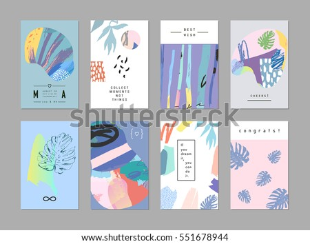 Set creative universal art posters cards stock vector 551678944