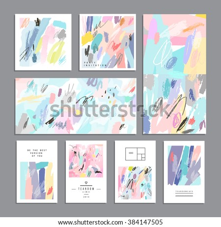 Set of creative universal cards. Hand Drawn textures. Wedding, anniversary, birthday, Valentine's day, party. Design for banner, poster, card, invitation, placard, brochure, flyer. Vector. Isolated. - stock vector