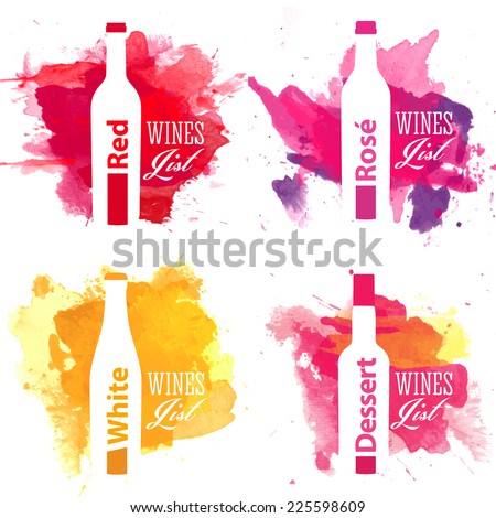 Set of creative wine list cover with shape of bottle on abstract watercolor pattern - stock vector