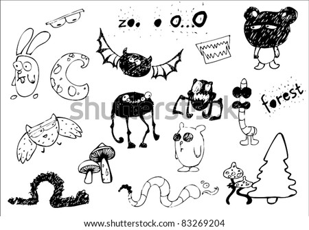 Set of creepy doodle objects, animals and monsters