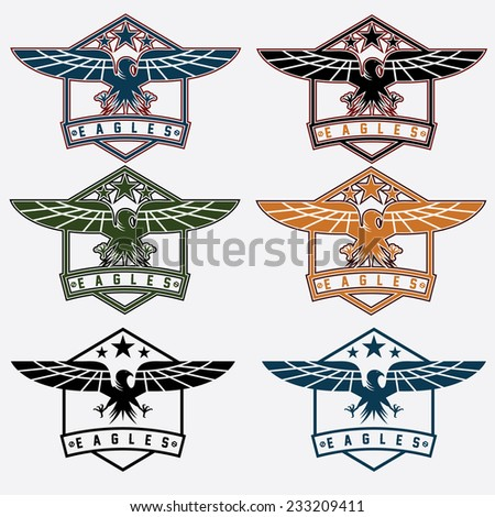 set of crests with eagles - stock vector