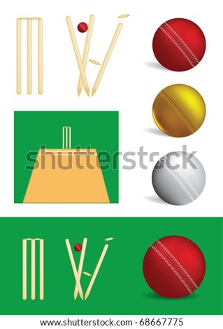 Set of cricket game objects - vector illustrations - stock vector