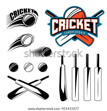 set cricket sports template logo elements stock vector hd royalty
