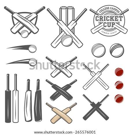 Set of cricket team emblem design elements - stock vector