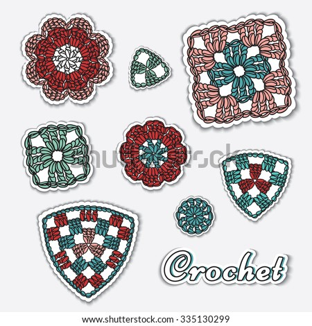 Crocheting Vector : ... . Granny square, flower, triangle. Crochet stitches. - stock vector