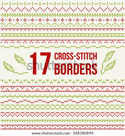 Set Cross Stitch Pattern Thin Borders Stock Vector Royalty Free