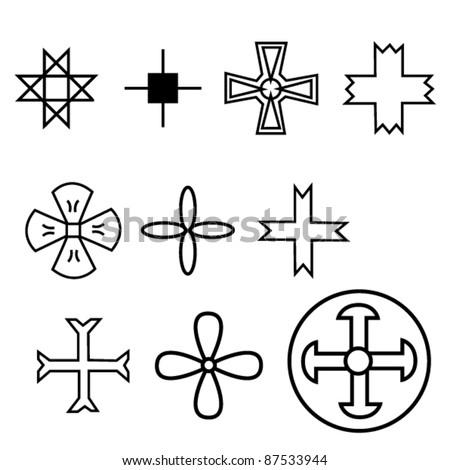 set of crosses in different styles. marine. church. life. symbols. vector illustration - stock vector