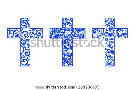 Set of crosses isolated on White background. Christian Symbol. Vector illustration - stock vector