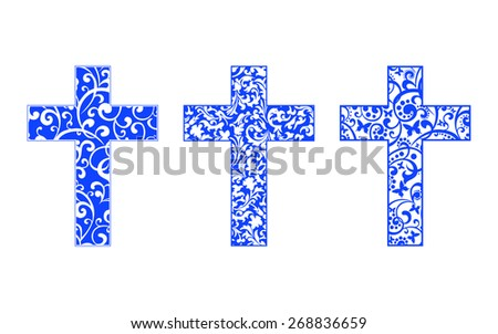 Set of crosses isolated on White background. Christian Symbol. Vector illustration