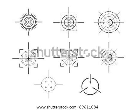 Set of crosshairs - illustration - stock vector