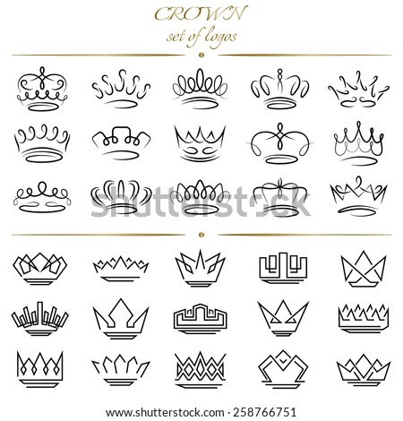 Set of crowns in different styles. - stock vector
