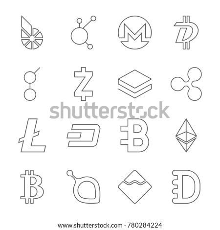 Set Of Crypto Currency Logo Coins BitShares BitConnect Monero Stratis Ethereum
