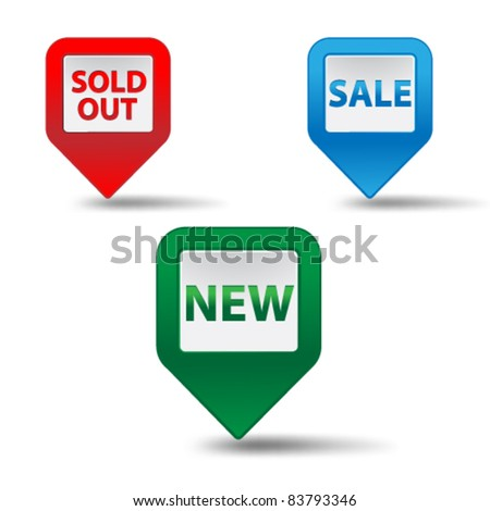 Set of cubical 3d pointer for sale,vector. - stock vector