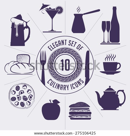 Set of 10 culinary icons - coffee turk, wine bottle, cup, teapot, hamburger, apple, pizza, bakery, beer and martini. For your cafe or restaurant design.  - stock vector