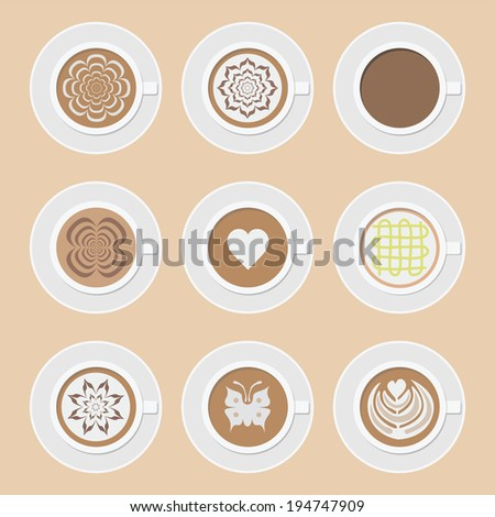 set of cup of coffee, americano, cappuccino, mocha, latte and another latte art style - stock vector