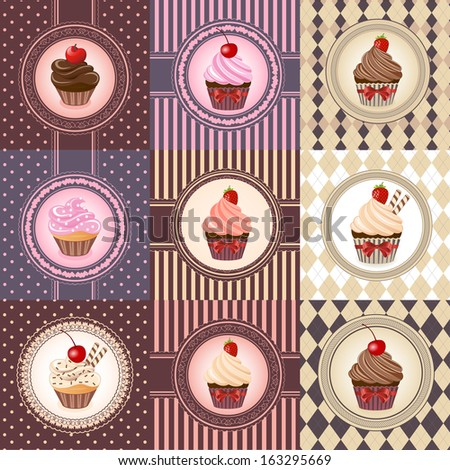 Stock Images similar to ID 74566672 - set of cake cards template