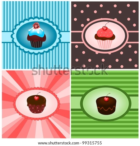 Set of cupcake vintages - stock vector