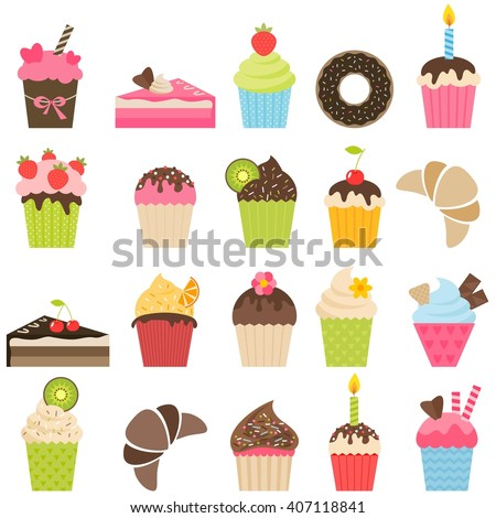 set of cupcakes and pieces of cake - stock vector