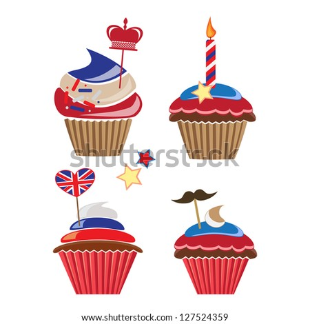 set of cupcakes for United Kingdom party - stock vector