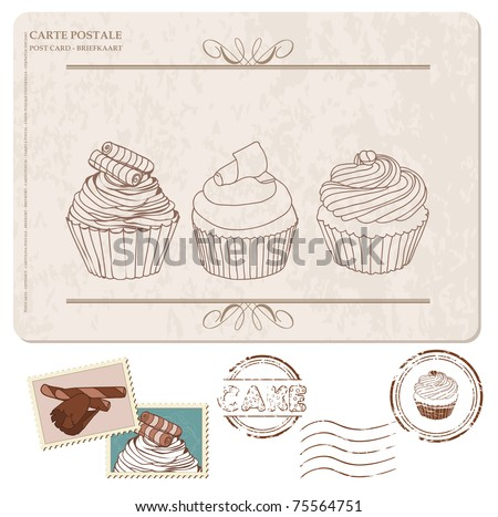 Set of cupcakes on old postcard, with stamps - for design and scrapbook - stock vector