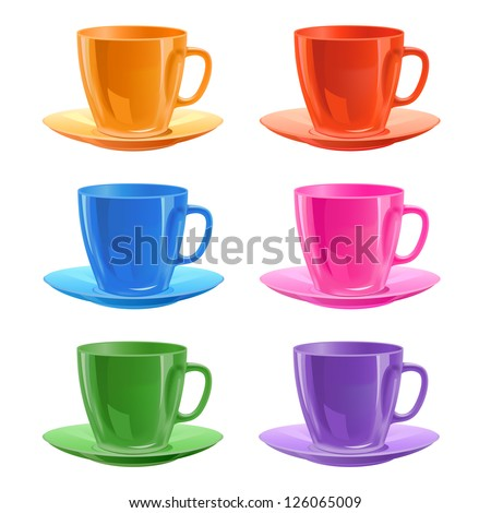 Set of cups with a saucers, vector illustration, isolated on white