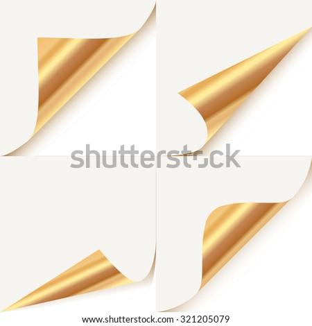 Set of curled golden corners - stock vector