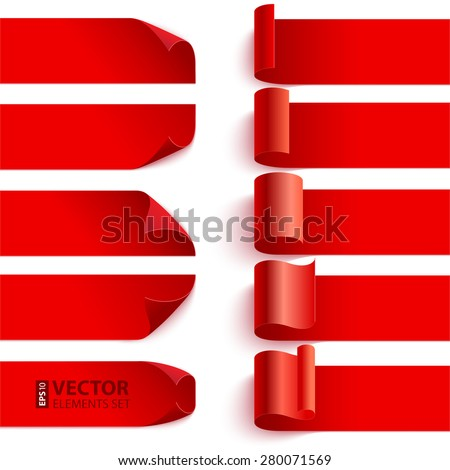 Set of curled red curled ribbons with shadows on white background. RGB EPS 10 vector illustration. Can be placed on any background - stock vector