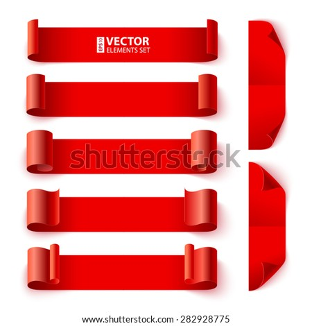 Set of curled red paper banners with shadows on white background. RGB EPS 10 vector illustration - stock vector