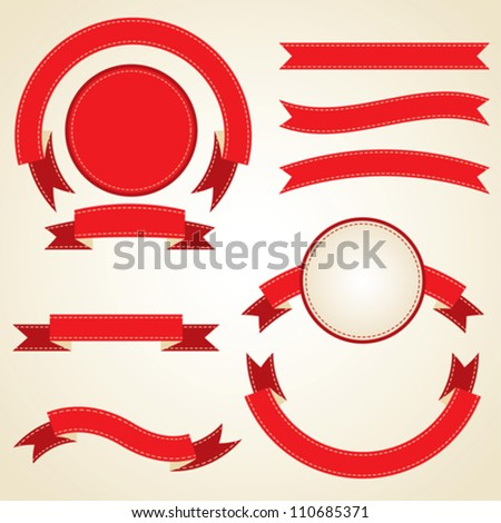 Set of curled red ribbons, vector illustration. - stock vector