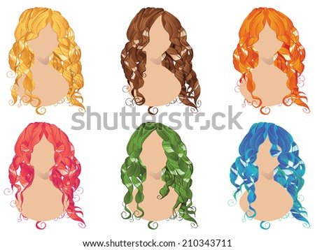 Set of curly hair styles in different colors.  - stock vector