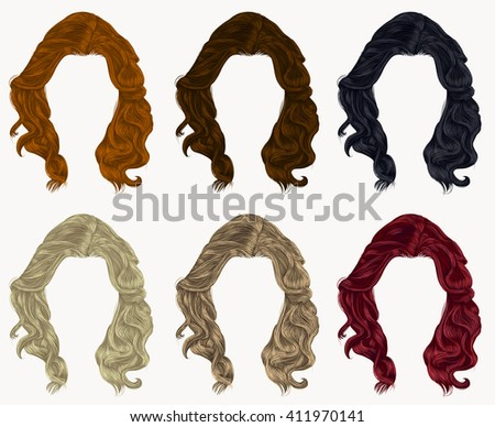 set of curly  hairs  different colors . - stock vector