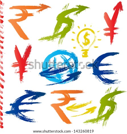 Set of currency symbols drawn with a brush - stock vector
