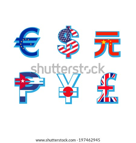 Set of currency symbols with flag in white background  - stock vector