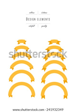 Set of curved ribbons - stock vector