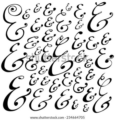 Set of custom decoration ampersands for wedding letterpress invitation. Doodle hand drawn type. Vector illustration - stock vector