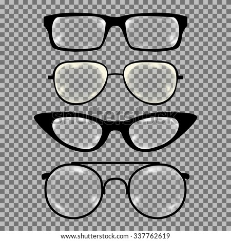 Set of custom glasses isolated. Vector illustration on transparent background. Glasses model icons, man, women frames. Sunglasses, eyeglasses isolated. silhouettes. Different shapes, frame, styles - stock vector