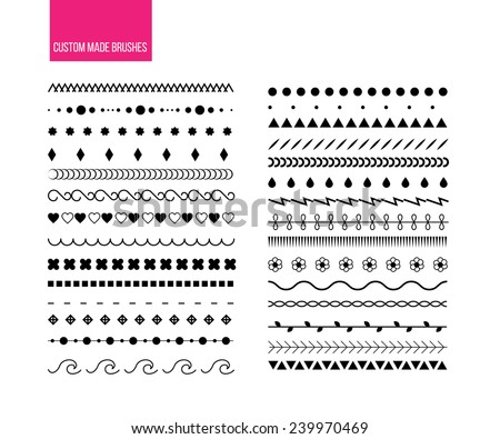 Set of custom made brushes - stock vector