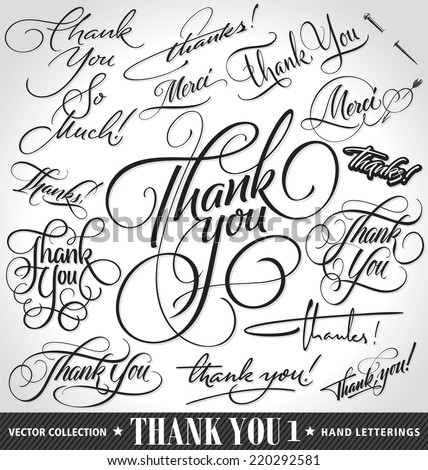 Set of custom THANK YOU hand lettering -- handmade calligraphy, vector (eps8) - stock vector