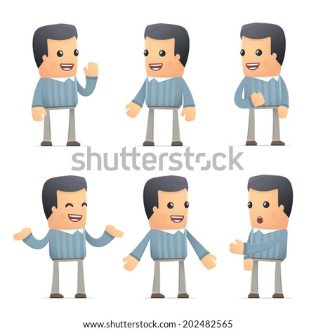 set of customer character in different interactive  poses