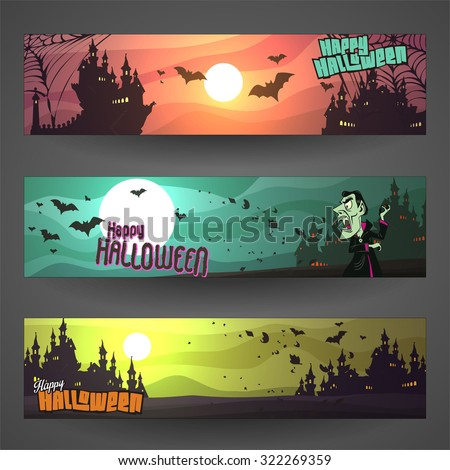Set of customizable Halloween vector banners, cartoon backgrounds