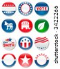 Set of 12 customizable political campaign buttons and badges - stock vector