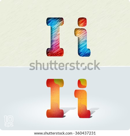 """Set of cut paper vector letters and bright, positive letters with noise and shadows. The capital letters """"I"""" and lowercase """"i."""" EPS10. - stock vector"""