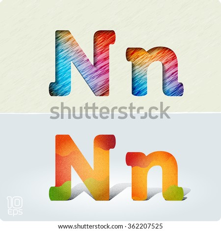 """Set of cut paper vector letters and bright, positive letters with noise and shadows. The capital letters """"N"""" and lowercase """"n"""". EPS10. - stock vector"""