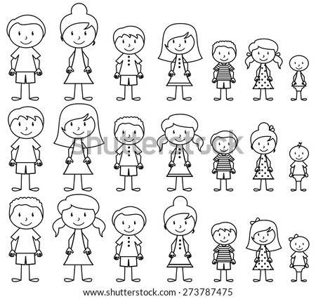Set of Cute and Diverse Stick People in Vector Format, strokes expanded but image not flattened so different aspects of each person can be easily altered - stock vector