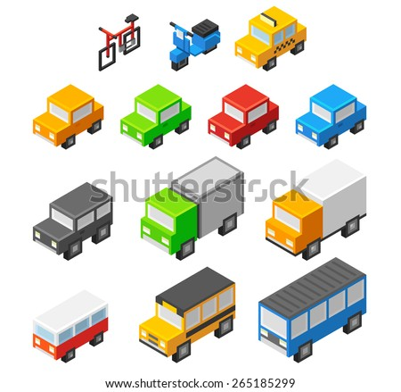 Set of cute and stylish isometric cartoon transport: personal urban vehicles, public and commercial cars. - stock vector