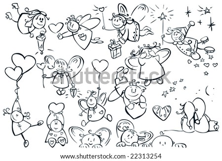 Set of cute  angels for design, Valentine's day! - stock vector