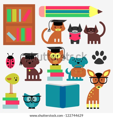 Set of cute animal students studying - stock vector
